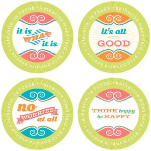 Think Happy Round Return Address Labels  (4 Designs)