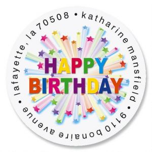 Birthday Star Round Address Labels