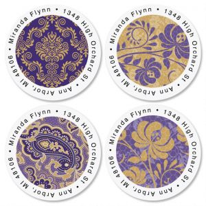Frosty Lavender Round Return Address Labels  (4 Designs)