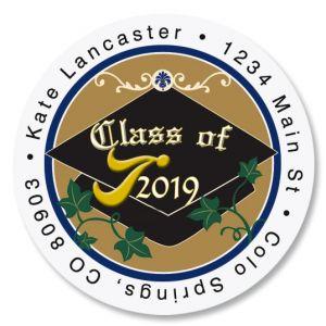 Congrats Graduation Round Return Address Labels
