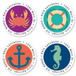 Coastal Round Address Labels  (4 Designs)