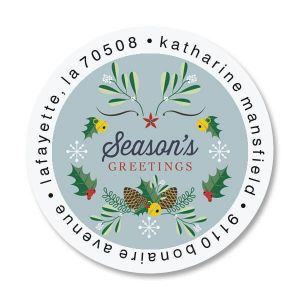Winter Laurel Round Address Labels