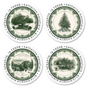 Christmas Toile Round Address Labels  (4 Designs)