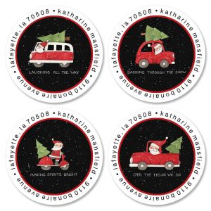 Santa's Wheels Round Return Address Labels  (4 Designs)