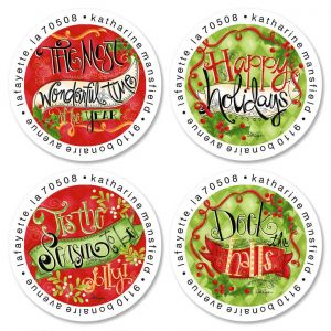 Glad Tidings Round Address Labels  (4 Designs)