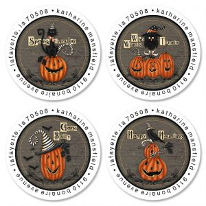 Happy Haunting Round Address Labels  (4 Designs)