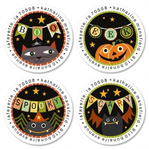 Boo Banners Round Return Address Labels  (4 Designs)