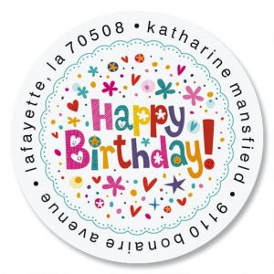 Peppy Birthday Round Address Labels