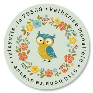 Sweet Little Owl Round Address Labels