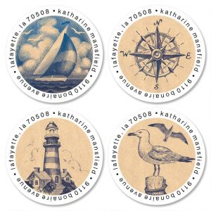 Bon Voyage Round Address Labels  (4 Designs)