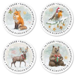 Woodland Christmas Round Return Address Labels (4 Designs)