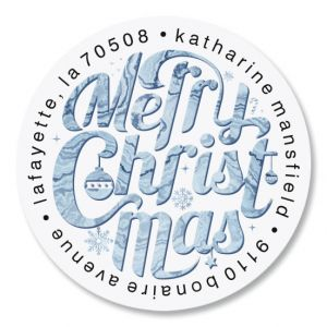 Christmas Marble Round Return Address Labels