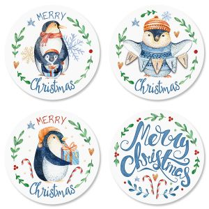 Merry Penguins Envelope Seals (4 Designs)