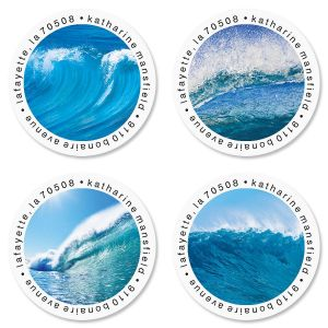 Energetic Ocean Round Return Address Labels  (4 Designs)