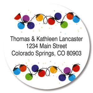 Merry & Bright Round Christmas Address Labels