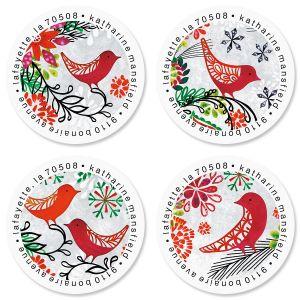 Red Bird Christmas Round Return Address Labels (4 Designs)