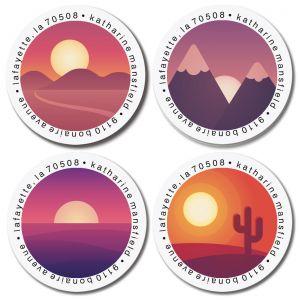 Sundown Round Return Address Labels (4 Designs)