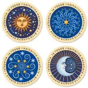Sun & Moon Round Address Labels (4 Designs)