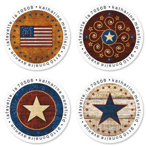 Patriotic Round Address Labels (4 Designs)