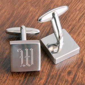 Brushed Silver Square Personalized Cuff Links