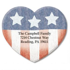 Americana Heart Diecut Address Labels