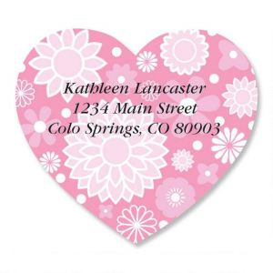 Flower Heart Diecut Address Labels