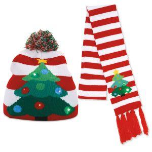 Christmas Tree Light-Up Stocking Cap & Scarf