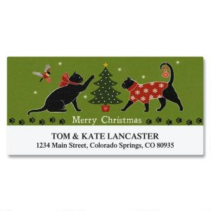 Festive Felines Deluxe Address Labels