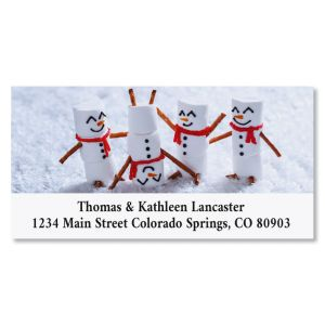 Marshmallow Snowmen Deluxe Christmas Address Labels