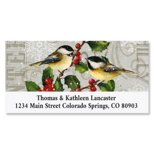 Chickadees and Holly Deluxe Christmas Address Labels