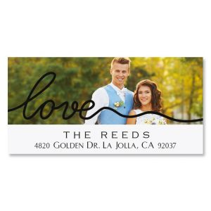 Love Deluxe Photo Return Address Label Black