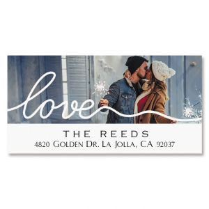 Love Deluxe Photo Return Address Label White