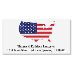 Patriotic Map Deluxe Return Address Labels