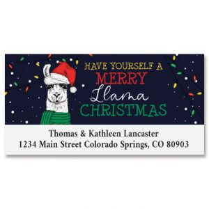 Christmas Llama Deluxe Return Address Labels
