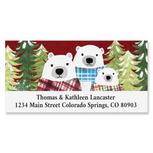 Christmas Bear Family Deluxe Return Address Labels