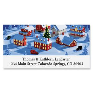 Christmas Town Deluxe Return Address Label