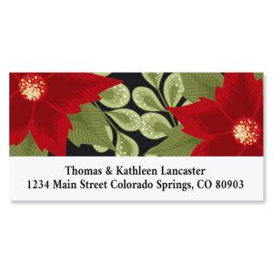 Poinsettia Border Deluxe Return Address Label