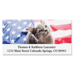 Patriotic Kitty Cat Deluxe Return Address Labels