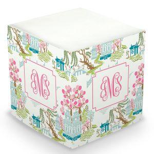 Custom Chinoiserie Sticky Memo Cube