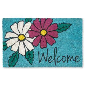 Floral Welcome Coir Doormat