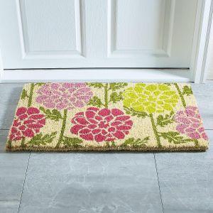 Dahlias Welcome Coir Doormat