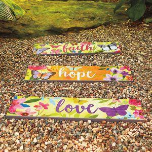 Faith Hope Love Garden Planks