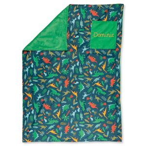 Custom All-Over Green Dino Print Blanket by Stephen Joseph®