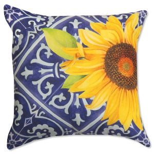 Indigo Sunflower Pillow