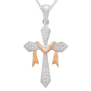 "Diamond Accent Cross Pendant with 18"" Chain"