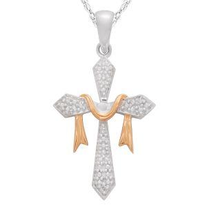 "Diamond Accent Cross Pendant with 18"" Chain"
