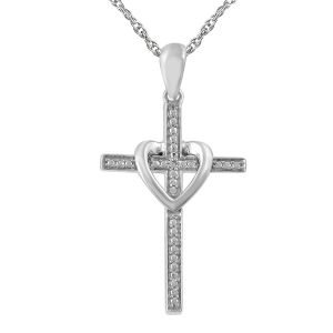 "Diamond Accent Cross/Heart Pendant with 18"" Chain"