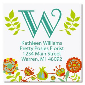 Cheery Florals Large Square Return Address Label