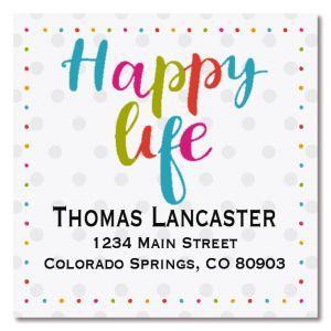 Happy Life Large Square Return Address Label