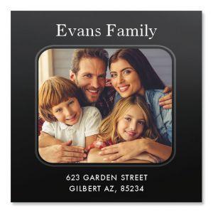 Modern Large Square Photo Return Address Label
